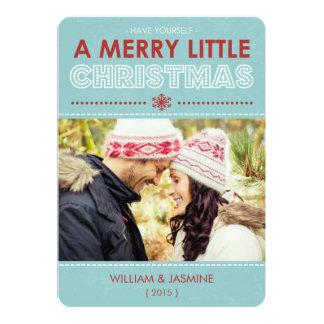 Tarjeta Azul plano de la tarjeta de la feliz pequeña foto