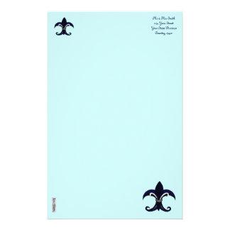 Azul/plata de la flor de lis  papeleria