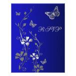 Azul, plata floral con la tarjeta de contestación  invitaciones personalizada