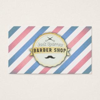 Azul profesional y el rojo raya la peluquería de tarjeta de negocios