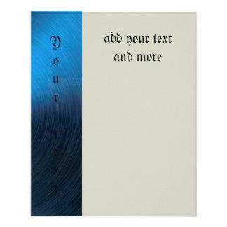 Azul profundo, metálico, modelo, de moda, moderno, folleto 11,4 x 14,2 cm