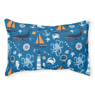 Azul profundo toda la cama náutica del perro de