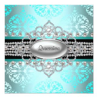 Azul Quinceanera del trullo de las perlas de los Invitación 13,3 Cm X 13,3cm