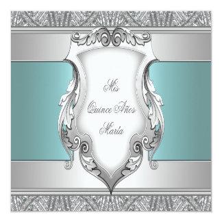 Azul Quinceanera del trullo Invitación 13,3 Cm X 13,3cm