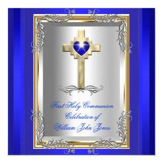 Azul real 2 del primer de la comunión santa del invitación 13,3 cm x 13,3cm