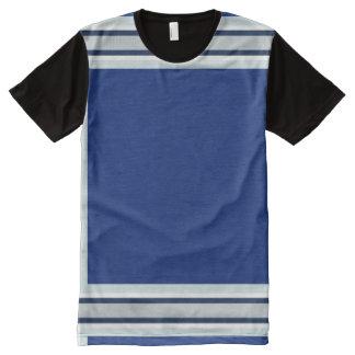 Azul real con el blanco y el borde azul marino de camiseta con estampado integral