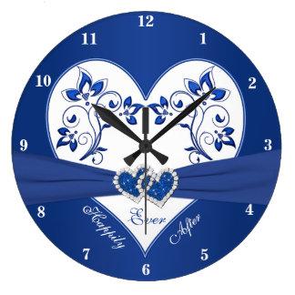 Azul real corazón floral blanco feliz siempre des reloj