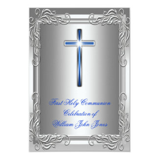 Azul real de la primera plata de la comunión santa invitación 8,9 x 12,7 cm