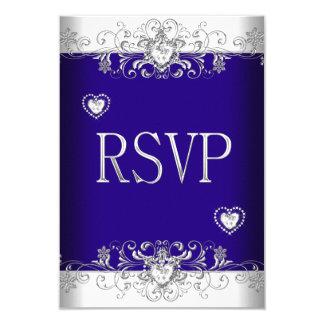Azul real de RSVP que casa los corazones blancos 2 Invitación 8,9 X 12,7 Cm