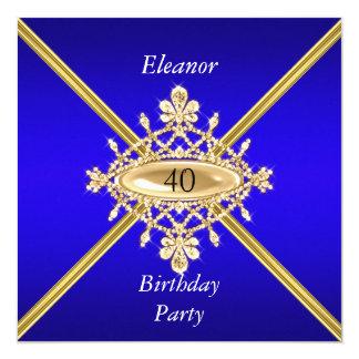 Azul real del 40.o de cumpleaños de las mujeres invitación 13,3 cm x 13,3cm