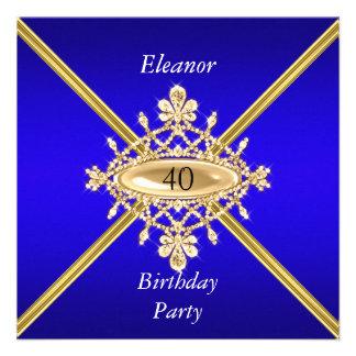 Azul real del 40 o de cumpleaños de las mujeres or comunicados personales