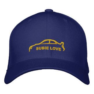Azul real del amor de Subie con la silueta del oro Gorra De Beisbol Bordada