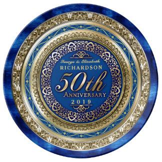 Azul real del falso oro del aniversario de boda de plato de porcelana