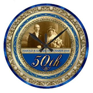 Azul real del oro de la foto del aniversario de reloj redondo grande