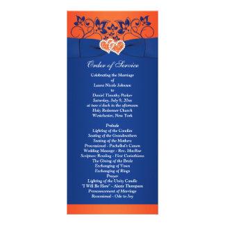 Azul real, floral anaranjado, corazones que casan tarjeta publicitaria