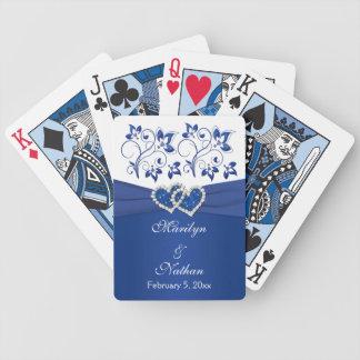 Azul real, naipes florales blancos del boda