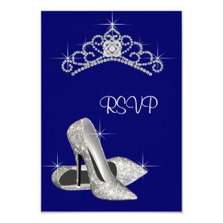 Azul real Quinceanera RSVP de la tiara de los Invitación 8,9 X 12,7 Cm