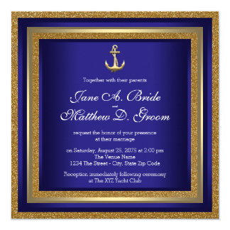 Azul real y boda náutico del oro invitación 13,3 cm x 13,3cm
