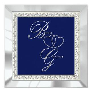 Azul real y bodas de plata invitación 13,3 cm x 13,3cm