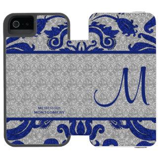Azul real y caja de encargo del damasco el   de la funda cartera para iPhone 5 watson