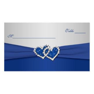 Azul real y corazones unidos plata Placecards Tarjetas De Visita