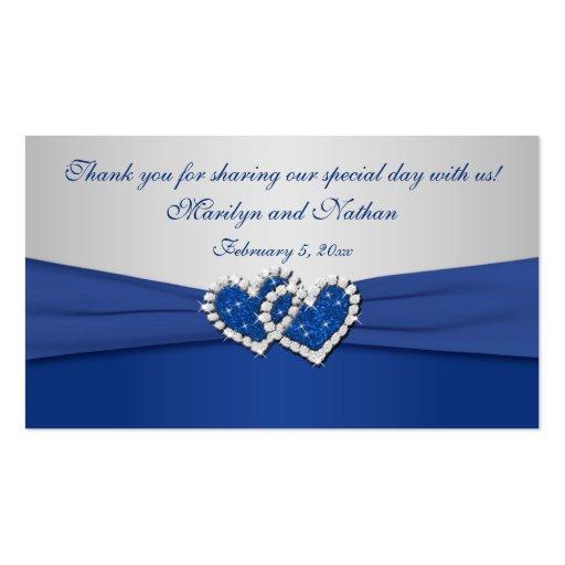 Azul real y etiqueta unida plata del favor de los  plantillas de tarjetas de visita