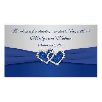Azul real y etiqueta unida plata del favor de los tarjetas de visita