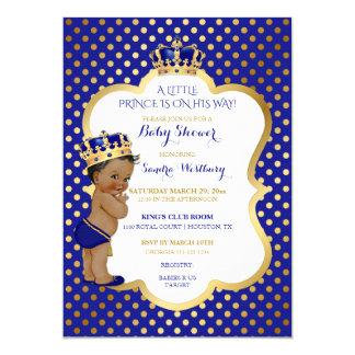 Azul real y príncipe afroamericano Crown del oro Invitación 12,7 X 17,8 Cm
