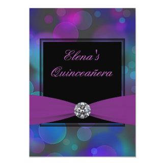 Azul real y púrpura Quinceanera Invitación 12,7 X 17,8 Cm