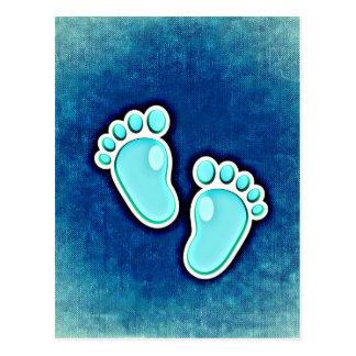 azul recién nacido de las huellas del bebé del postal