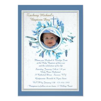 Azul religioso de la invitación de la foto del