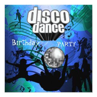 Azul retro de la fiesta de cumpleaños de la danza invitación 13,3 cm x 13,3cm