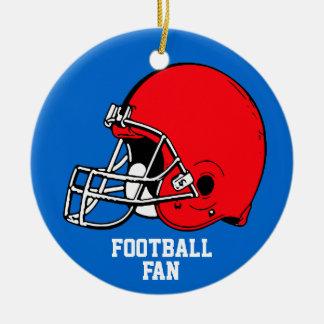 Azul rojo del casco del ornamento del fanático del adorno navideño redondo de cerámica