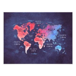 azul rojo del mapa del mundo foto