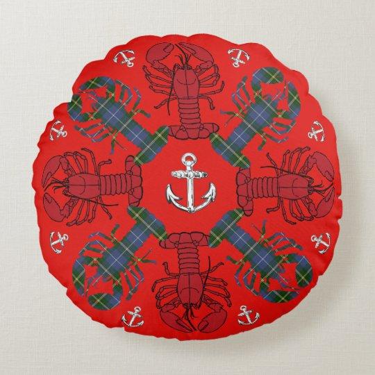 Azul rojo del navidad del tartán del ancla del cojín redondo