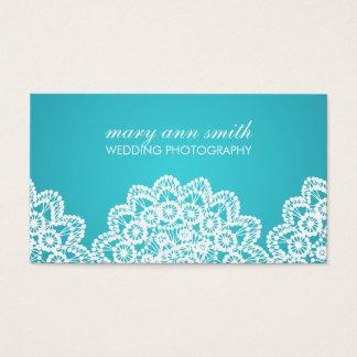 Azul simple de la fotografía del boda del cordón tarjeta de negocios
