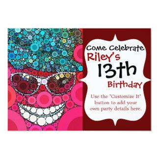 Azul sonriente fresco enrrollado del rosa del invitación 12,7 x 17,8 cm
