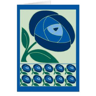 Azul subió estilo retro de la flor de los años 70 tarjeta de felicitación