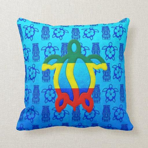 Azul Tiki de Rasta Honu Almohadas