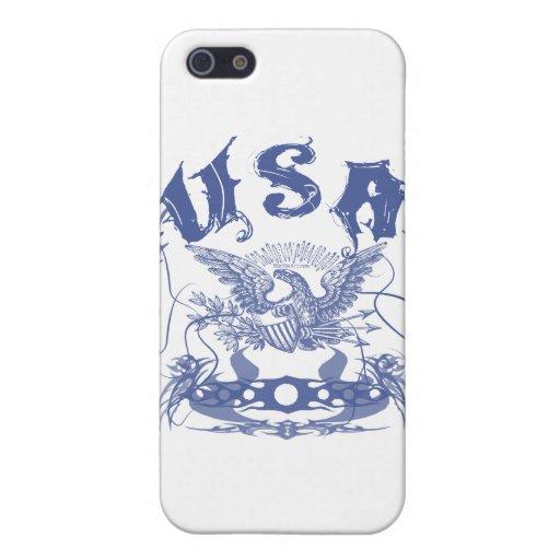 Azul tribal de los E.E.U.U. iPhone 5 Funda
