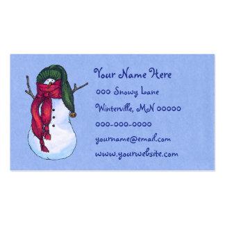 Azul verde del gorra del muñeco de nieve tarjetas de visita
