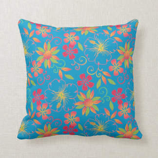 azul vibrante de la almohada de tiro de las flores