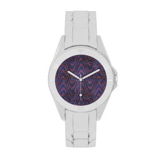 Azul violeta psicodélico retro del modelo de onda reloj