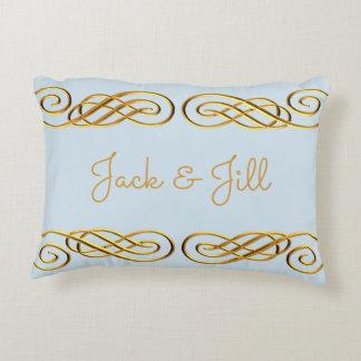 Azul y almohada de tiro personalizada oro