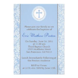 Azul y bautismo de Brown invitación del bautizo