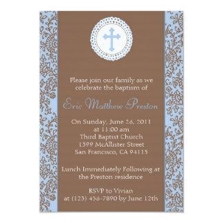 Azul y bautismo de Brown/invitación del bautizo Invitación 12,7 X 17,8 Cm