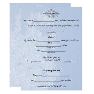 Azul y blanco, casando consejo, comentario, invitación 13,9 x 19,0 cm