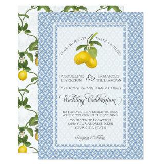 Azul y blanco de la fruta cítrica del limón BOHO Invitación 12,7 X 17,8 Cm