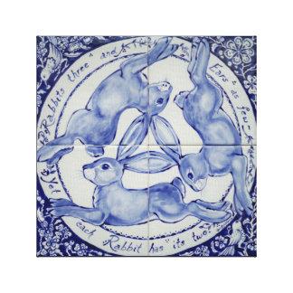 Azul y blanco del arte del medallón de la teja del