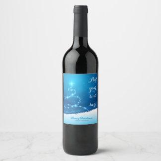 Azul y blanco y etiqueta del vino de Christmasy